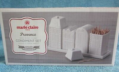 MARIE CLAIRE Provence 5 pc CONDIMENT SET Salt Pepper 2 lidded Pots, Tray BOX NEW