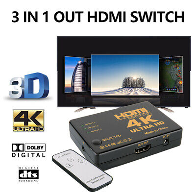 4K 1080P 3 Port HDMI HDTV Auto Switcher Splitter Switch Hub IR Remote Control