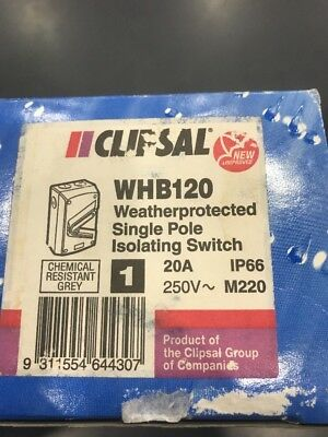 Clipsal WHB120 Isolating Switch 1 Pole 1P 250V 20A IP66 M220 Surface Mount
