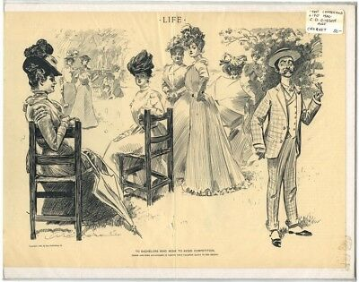 Rare Antique Original Vintage 1900 Life Croquet CD Gibson Illustration Art Print