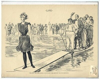 Rare Antique Original Vintage 1900 Life Honeymoon Gibson Illustration Art Print