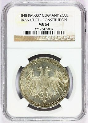 1848 Germany Frankfurt Constitution 2 Gulden Silver Coin - NGC MS 64 - KM# 337