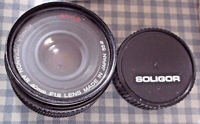 KONICA Hexanon AR 40mm F18 Lens, Made in Japan 55o, 40/1.8, Back Cover reads: SO