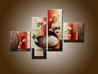 Framed 4 Panels Elegant Flowers Abstract Oil Painting on Canvas Wall Art Decor