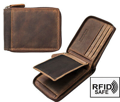 Men's Hunter Rugged Brown Leather Zip Around Wallet RFID Safe Blocking