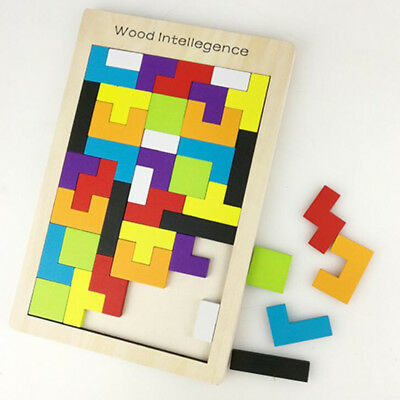 Colorful Tetris Puzzle Wooden Tangram Brain Teaser Game Kids Wood Play Set