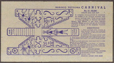 Nabisco Toytown Carnival card #21 Slide Ride 1946