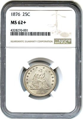 1876 25c NGC MS62+ - Liberty Seated Quarter - Frosty!