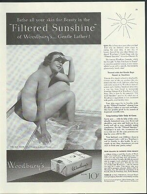 Bathe your skin in Filtered Sunshine Woodbury Facial Soap ad 1936 nude
