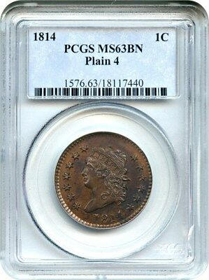 1814 1c PCGS MS63 BN (Plain 4) Scarce Early Large Cent - Large Cent