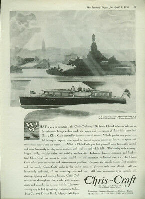 What a way to entertain Chris-Craft 34-foot Commuting Cruiser ad 1930