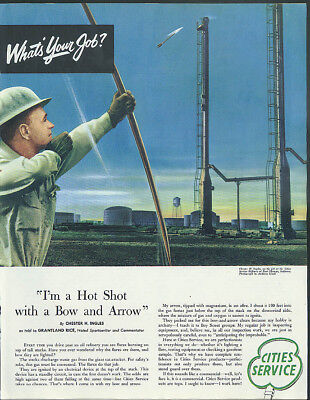 I'm a hot shot with bow & arrow Cities Service ad 1953 Grantland Rice