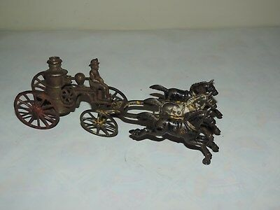 ANTIQUE CAST IRON FIRE PUMPER ENGINE HORSE WAGON wt THREE HORSES FIREMAN