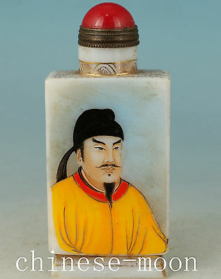 Hand Painting tang dynasty king LIshimin coloured glaze Glass Snuff Bottle