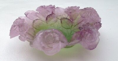 Daum France Large Cup Crystal Flowers De Roses Bicolour Art Floral