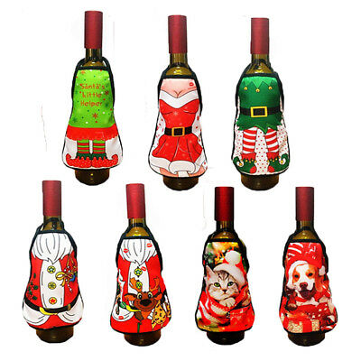 Christmas Apron Reindeer Cat Dog Wine Bottle Cover Gift Wrapping Bag Tableware