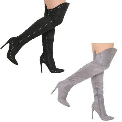 New Womens Over The Knee Boot Pointed Toe Stiletto High Heels Studded Shoes 3-8