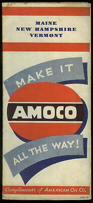 Amoco Gasoline Road Map Maine New Hampshire Vermont 1949