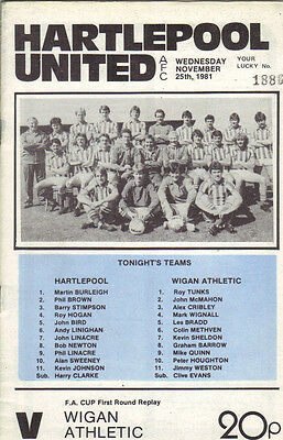 Hartlepool United v Wigan Athletic 1981/82 FA Cup 1st round replay
