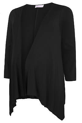 YoursClothing Plus Size Womens Tee Shirt Top Maternity Waterfall Cardigan Black