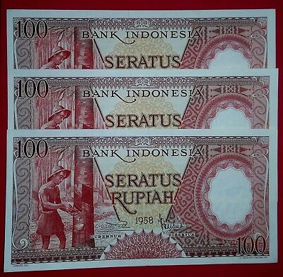 Indonesia 1958 100 Rupiahx3pcs  X Replacement UNC Note.