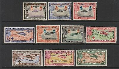 Spain - 1927, Air set of stamps - Optd - L/M - SG 445/54