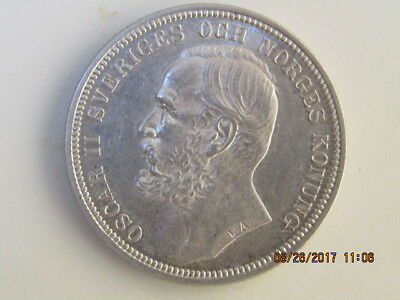 1897 E.B. - SWEDEN - 2 - KRONER Silver Coin - OSCAR II - REDUCED !!