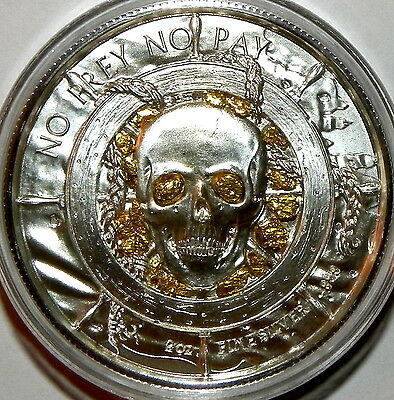 "PRIVATEER ""The Captain"" 2 oz Silver Round+ Gold Nuggets From Porcupine Alaska"