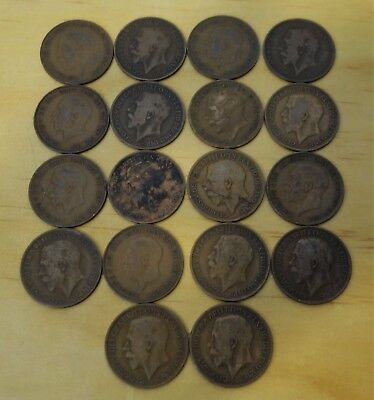 (18) King George V 1911 - 1936 British Copper Large Pennies Cents - A675