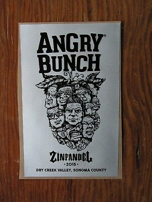 Angry Bunch Zinfandel ~New Wine Label Craft Winery Logo Vineyard Decal Sticker~
