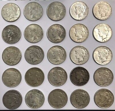 Lot Mixed Peace Silver Dollar Lot of 25 Coins 90% Silver Great Mix B3