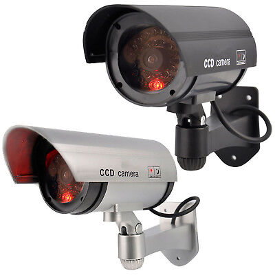 Outdoor Dummy Security Camera Fake Cctv Red Led Flashing Power Lights Imitation