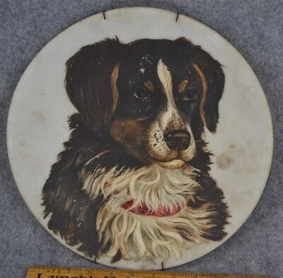 oil painting mountain dog brown black white date 1902 large round antique