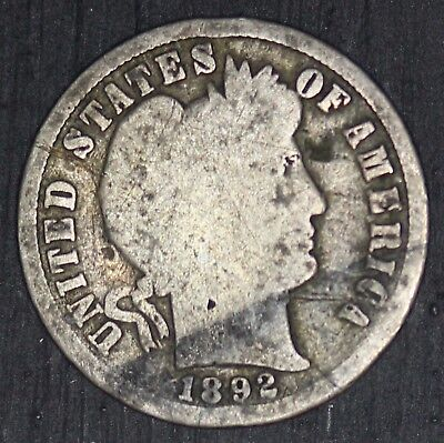 1892-S U.S. Barber Dime Silver 10 Cents Coin - RARE Key Date
