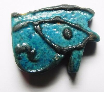 ZURQIEH - asw188- ANCIENT FAIENCE EYE OF HORUS AMULET, 1075 - 600 B.C