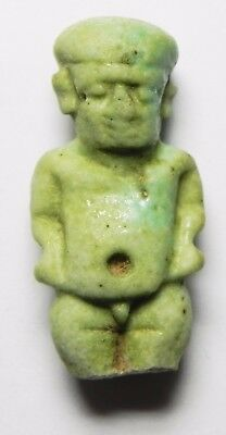 ZURQIEH - asw192- ANCIENT FAIENCE PATAIKOS AMULET, 600 B.C