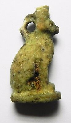ZURQIEH - asw194- ANCIENT FAIENCE CAT AMULET, 600 B.C