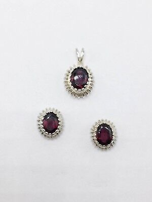 Sterling Silver 925 Oval Red Tourmaline Stud Earrings and Pendant Set Combo
