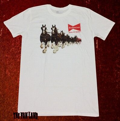 New Budweiser Clydesdales Beer Bud Vintage Mens Retro T-Shirt