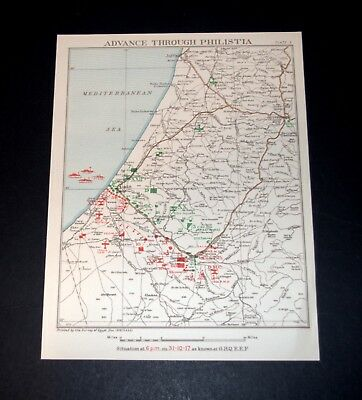 ADVANCE OF EGYPTIAN EXPEDITIONARY FORCE THROUGH PHILISTIA 29/10/1917 Plate 5