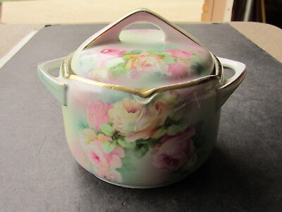 Fantastic Antique BT Germany Hand Ptd. Pink & Yellow Roses Decorated Cracker Jar