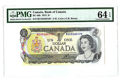 1973 $1 BANK OF CANADA PMG 64 EPQ BC-46b BANKNOTE CHOICE UNCIRCULATED PREFIX BCH