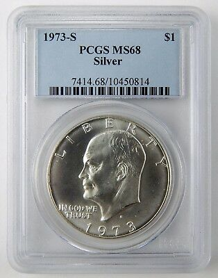 1973-S $1 Eisenhower Ike Dollar 40% Silver PCGS MS68 Gem Uncirculated Coin A4199