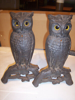 ANTIQUE PAIR OWL FIREPLACE ANDIRONS with ORIGINAL GLASS EYES $.99 Start NR