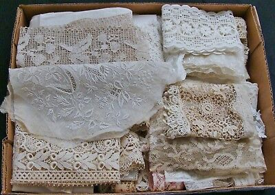 Antique Lace Lot Valenciennes Ayrshire Tambour Tulle Irish Crochet Dolls Bears