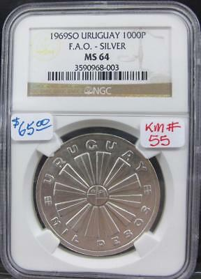 Uruguay Ngc 1969So Silver 1000-Pesos!  Ms 64! Km# 55! Real Nice Rare Type Coin!
