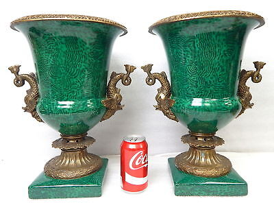 PAID $550 Large Neoclassical Tozai Home PAIR Green Mounted Urns Planter Vase NR
