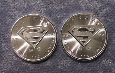 Two (2) Canada 2016 Superman 1 oz Silver 9999 Fine Coins - No Reserve