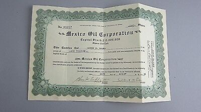 1000 Share Uncancelled Capitol Stock Certificate MEXICO OIL CORPORATION 1928