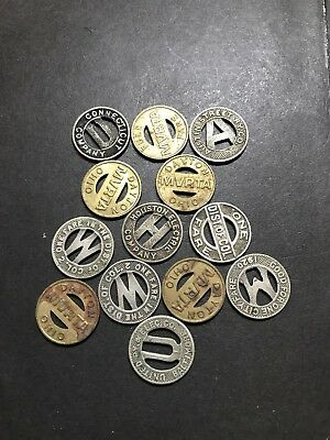 Lot Of 13 Old Transit Tokens Metro And Others